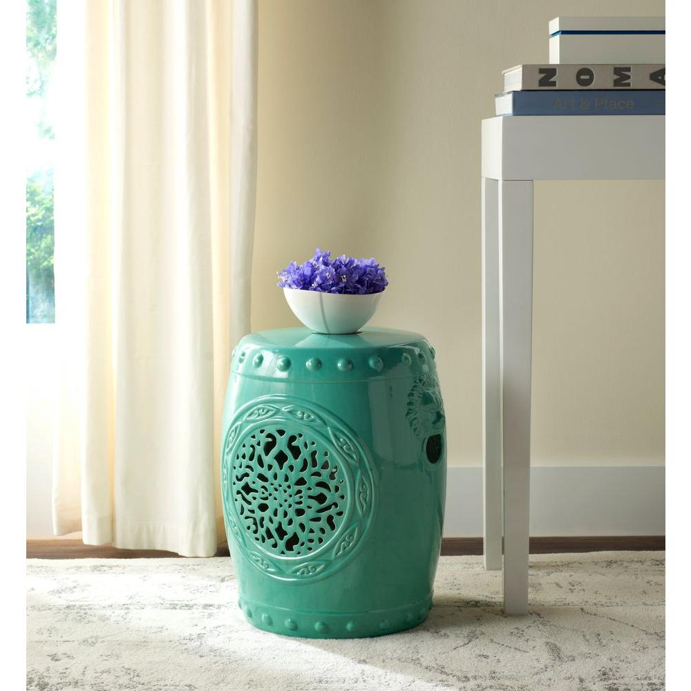 Safavieh Flower Drum Aqua Patio Stool Acs4532c The Home