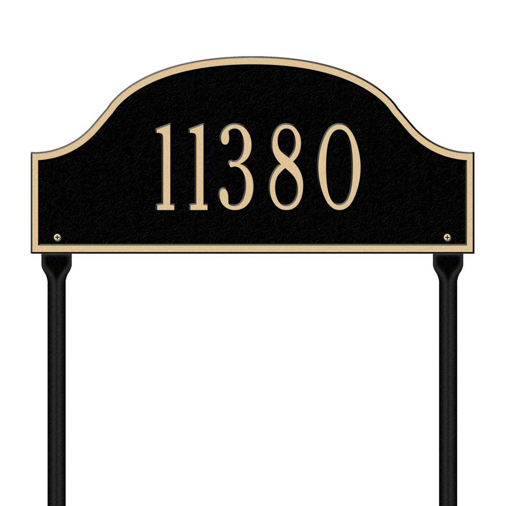 Admiral Standard Arch Black/Gold Lawn One Line Address Plaque