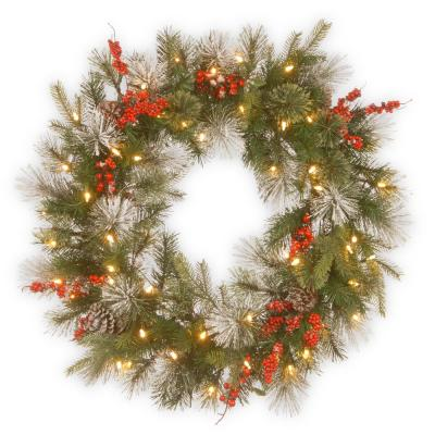 30 in. Battery Operated LED Lights Wintry Berry Wreath