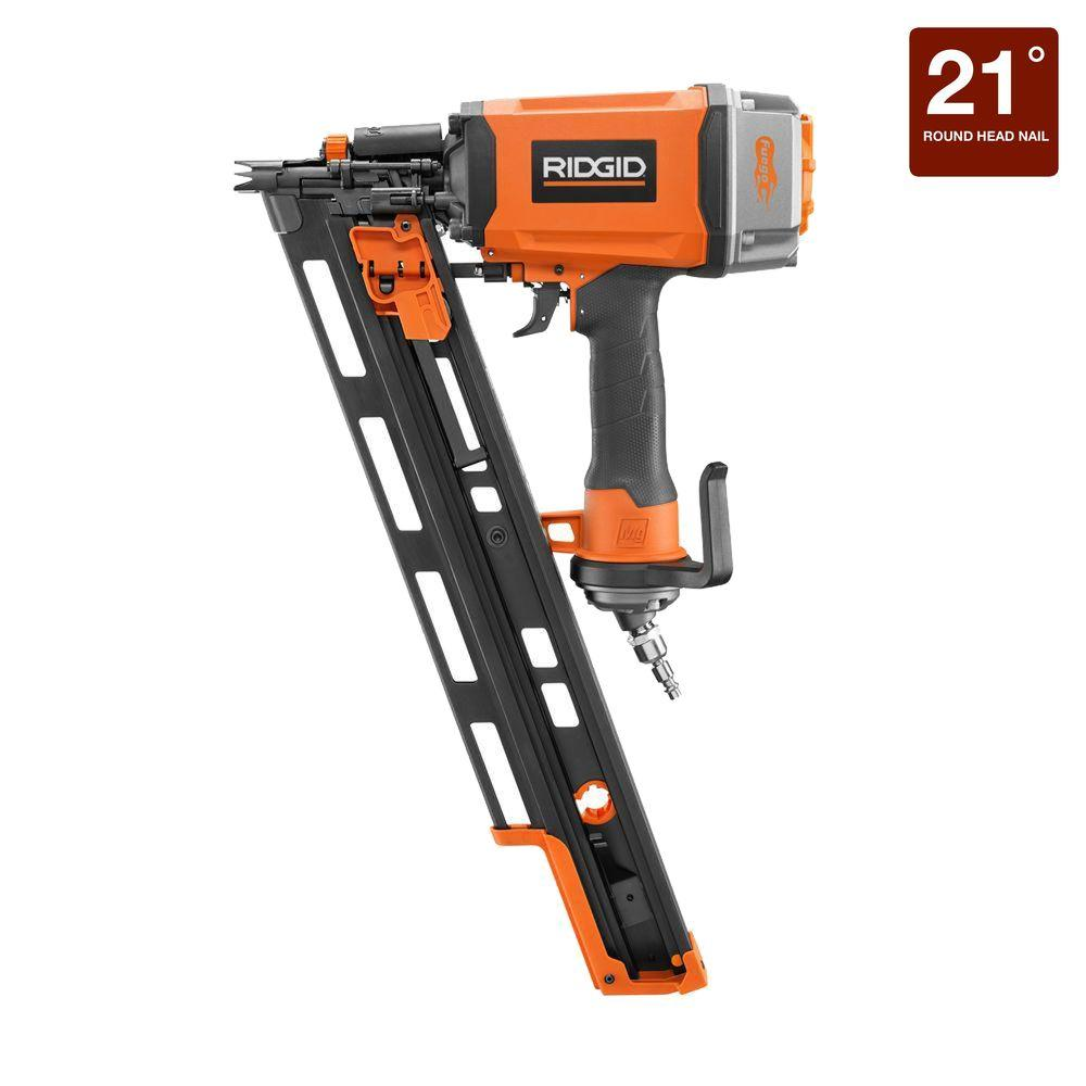 Ridgid 21 degree 3 12 in round head framing nailer r350rhe the round head framing nailer jeuxipadfo Images