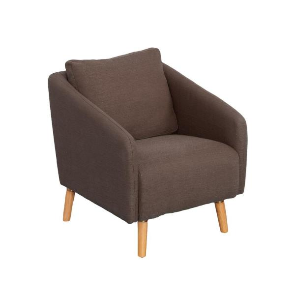 CorLiving Dolsey Brown Woven Fabric Accent Chair with Flared Wooden Legs