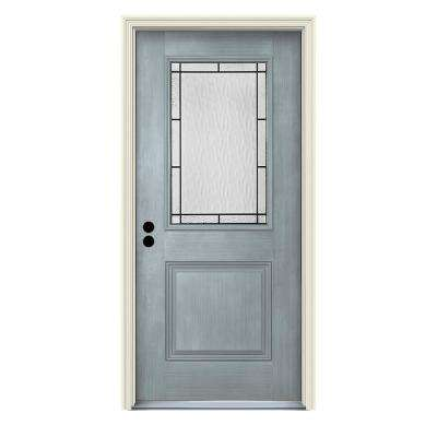 36 in. x 80 in. Right-Hand 1/2-Lite Wendover Stone Stained Fiberglass Prehung Front Door with Brickmould