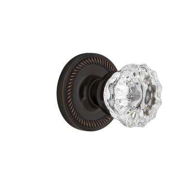 Rope Rosette 2-3/4 in. Backset Timeless Bronze Privacy Bed/Bath Crystal Glass Door Knob