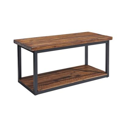 Claremont 40 in. Rustic Wood Bench with Low Shelf