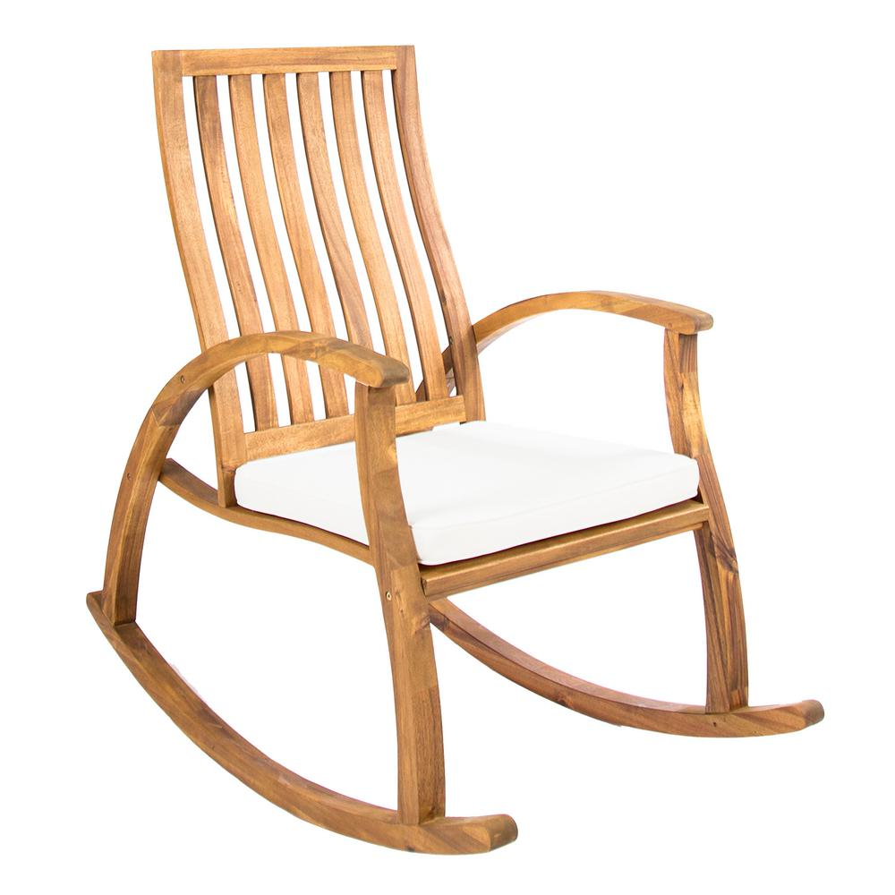 Noble House Travis Natural Stained Wood Outdoor Rocking Chair With Cream Cushion
