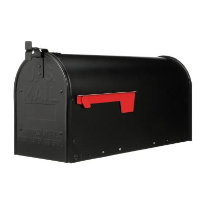 Admiral Large, Aluminum, Post-Mount Mailbox, Textured Black