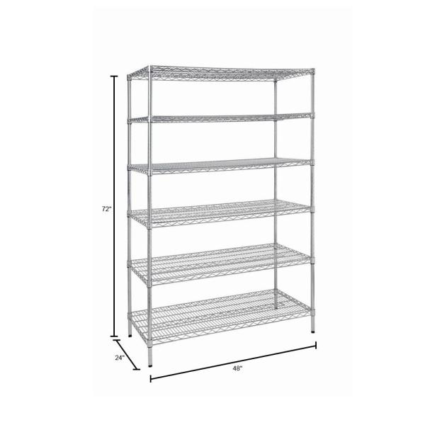 Hdx Silver 6 Tier Heavy Duty Metal Wire Shelving Unit 48 In W X 72 In H X 24 In D Hd32448rcps The Home Depot