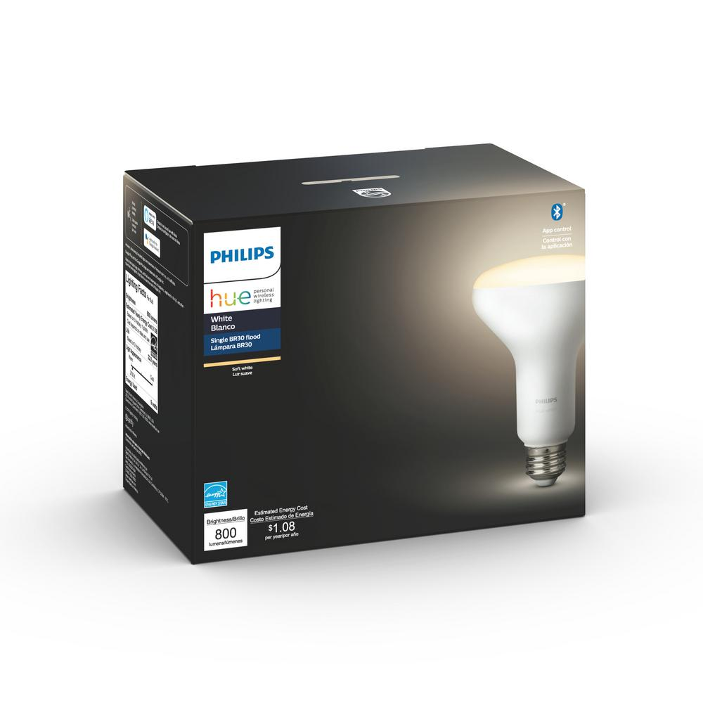 Philips Hue White BR30 LED 65W Equivalent Dimmable Smart Wireless Flood  Light Bulb with Bluetooth