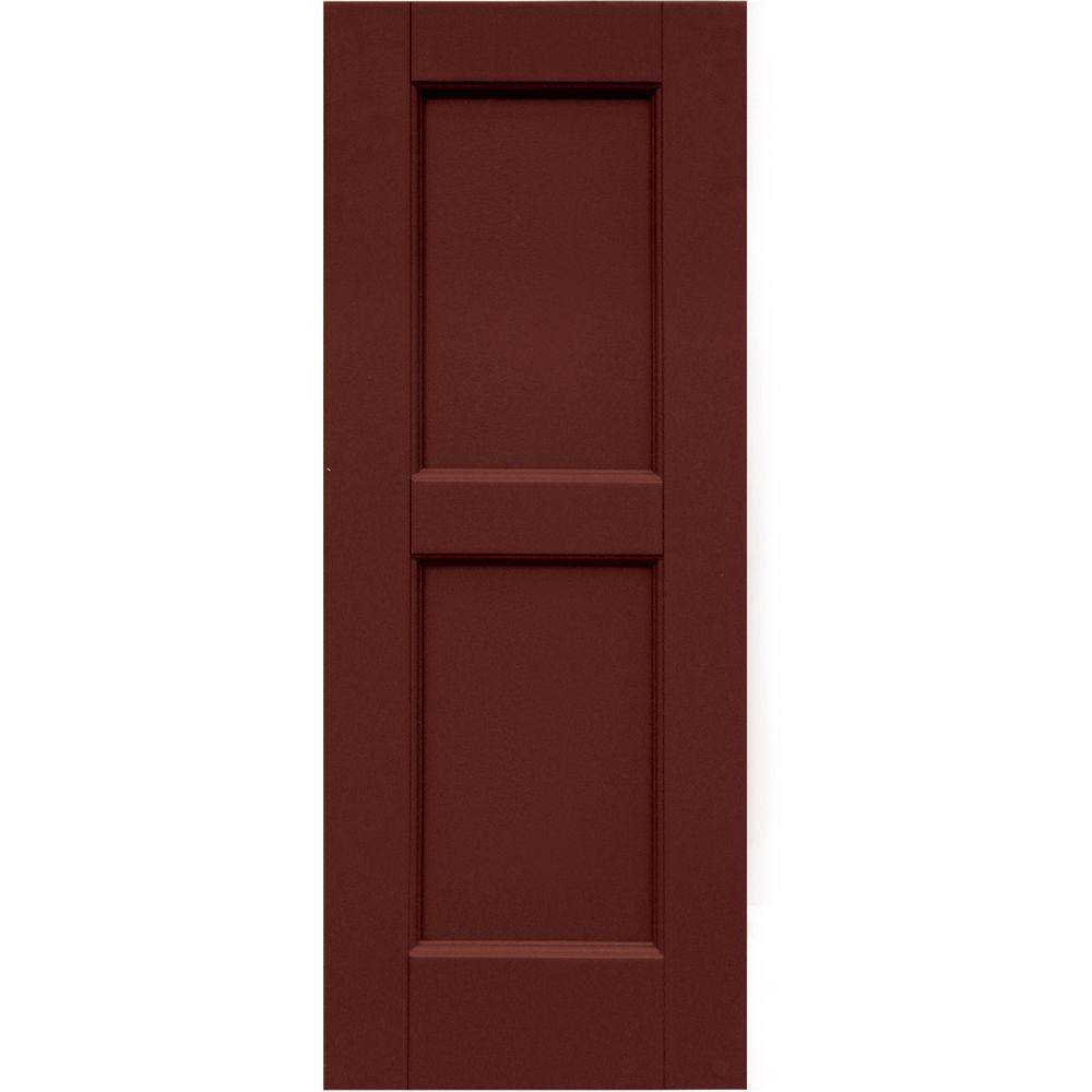 Winworks Wood Composite 12 in. x 31 in. Contemporary Flat Panel Shutters Pair #650 Board & Batten Red