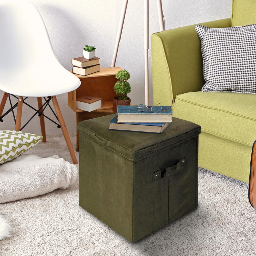 Sage Microsuede Seat Pad Folding Storage Ottoman