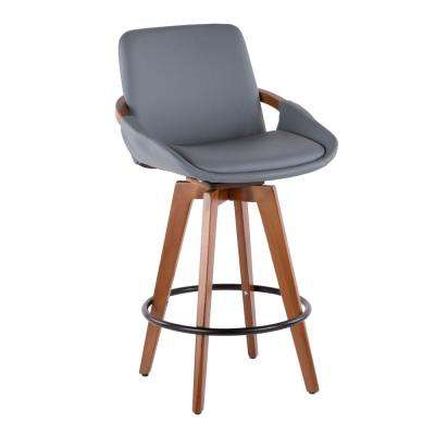 Cosmo 26 in. Walnut and Grey Faux Leather Counter Stool