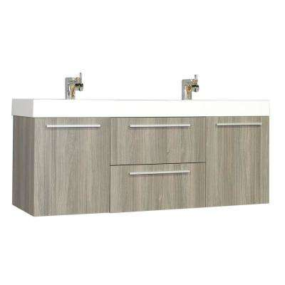 Ripley 54.25 in. W x 18.75 in. D x 23.25 in. H Vanity in Gray with Acrylic Vanity Top in White with White Basin