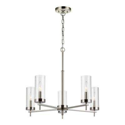 Zire 5-Light Brushed Nickel Chandelier with Clear Glass Shades with Dimmable Candelabra LED Bulb