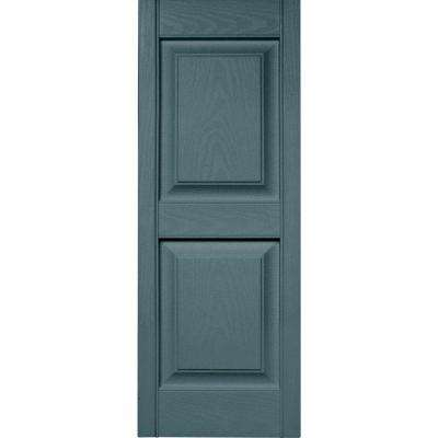 15 in. x 39 in. Raised Panel Vinyl Exterior Shutters Pair in #004 Wedgewood Blue