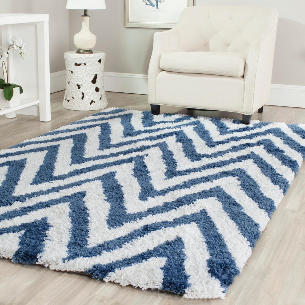 Safavieh Chevron Shag Ivory/Blue 4 ft. x 6 ft. Area Rug