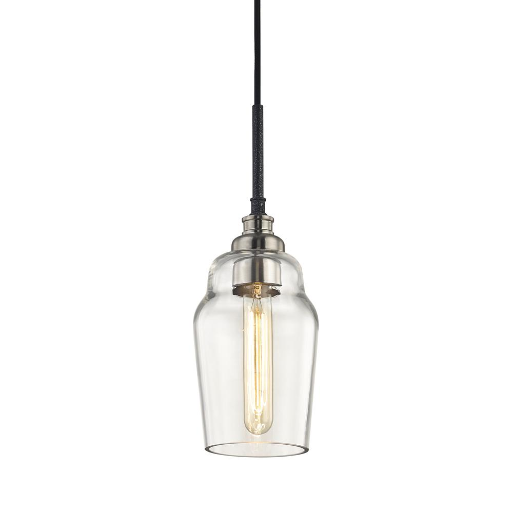 Dublin 1-Light Old Silver and Brushed Nickel Pendant with Clear Blown