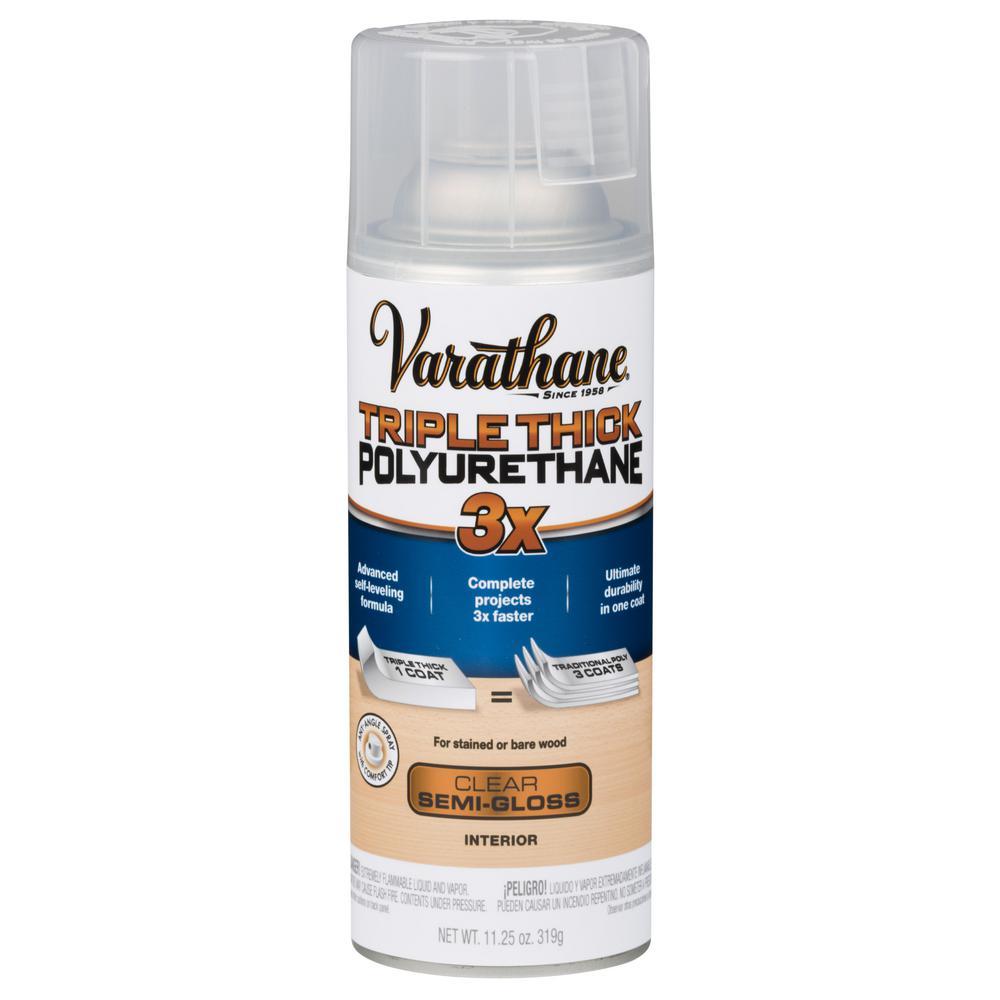 11 oz. Clear Semi-Gloss Triple Thick Polyurethane Spray (6-Pack)