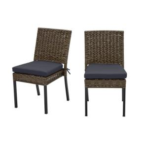 Laguna Point Brown Wicker Outdoor Patio Dining Chair with CushionGuard Midnight Navy Blue Cushions (2-Pack)
