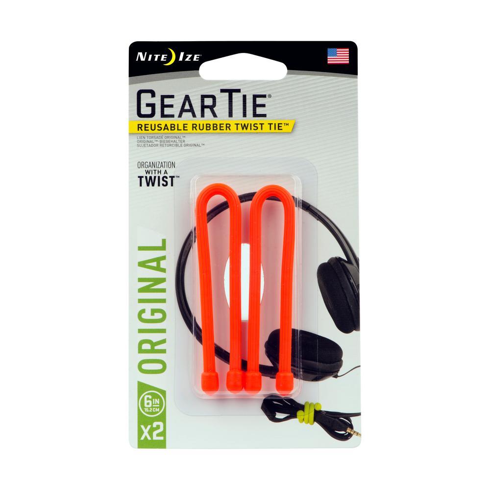 "6-Pack of 2 Nite Ize Gear Tie Clippable Twist Tie 3/"" Bright Orange w//S-Biners"