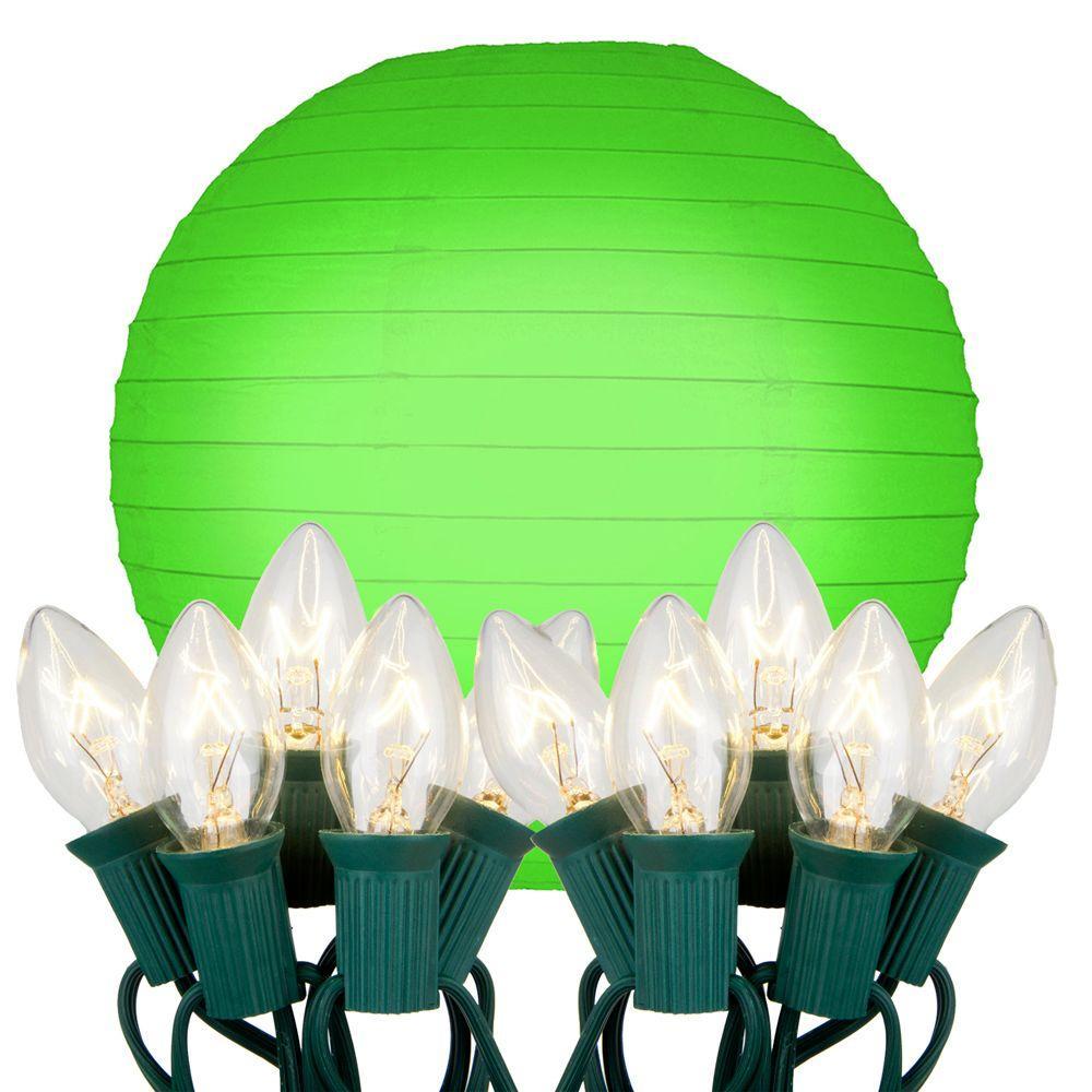 10 in. 10-Light Green Paper Lantern String Lights