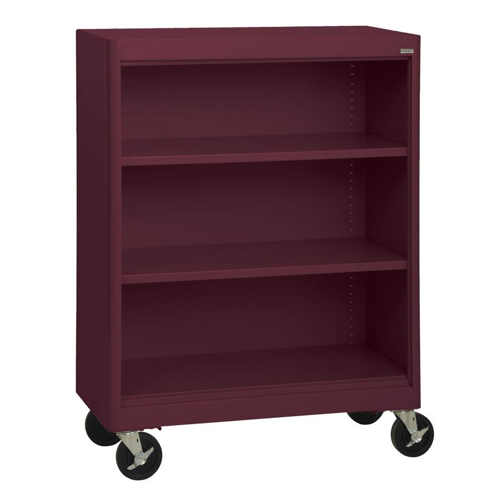 Sandusky 48 in. Burgundy Metal 3-shelf Cart Bookcase with Adjustable Shelves