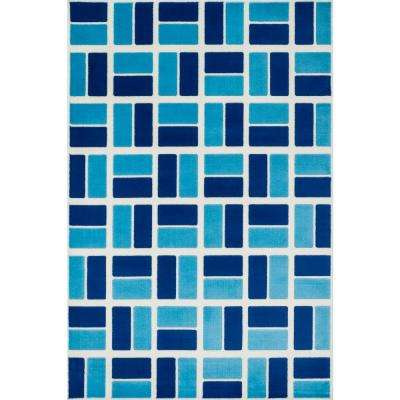 Gracie Lifestyle Collection Ivory/Blue 2 ft. 7 in. x 3 ft. 11 in. Area Rug