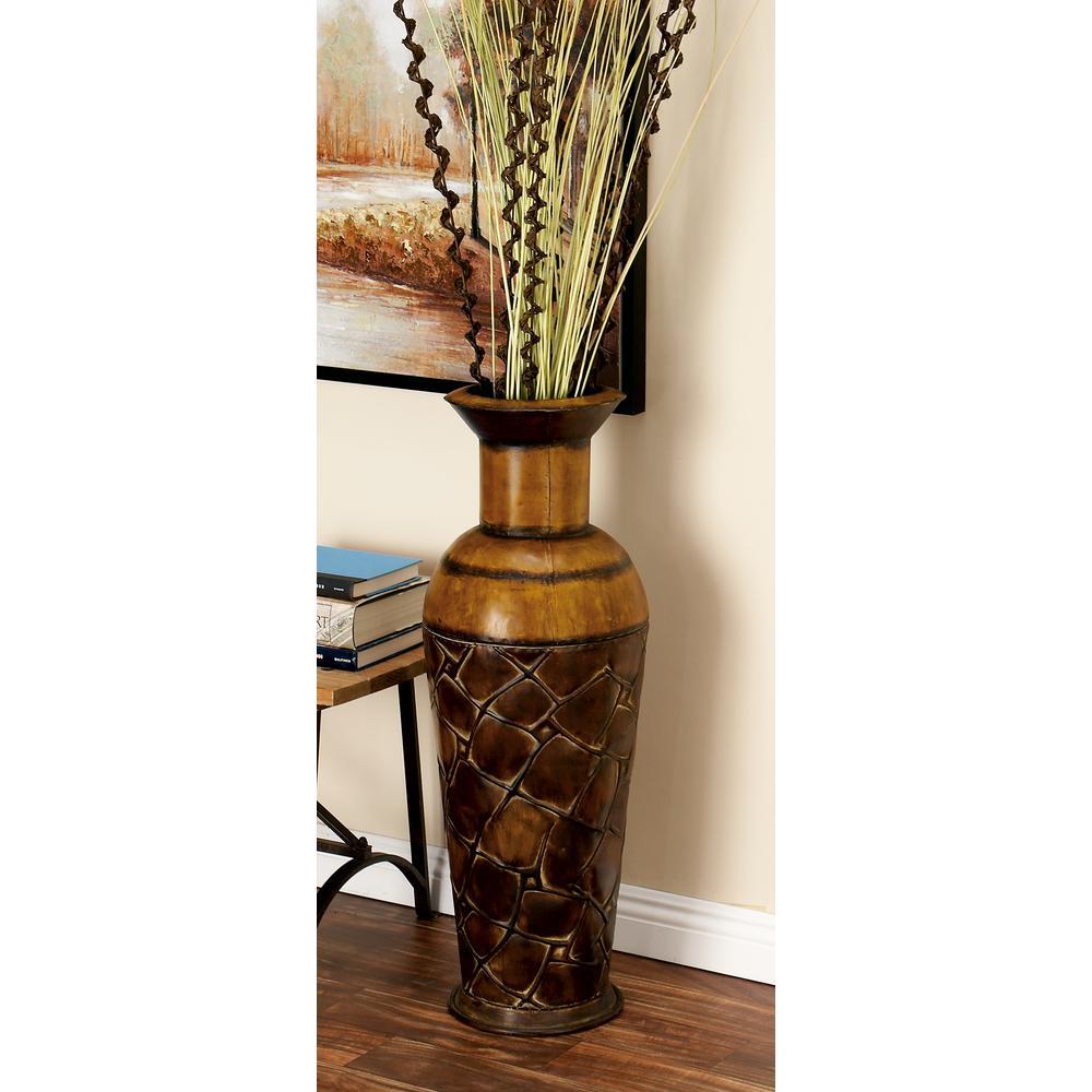 Litton Lane Iron Metal Decorative Vase In Bronze Patina