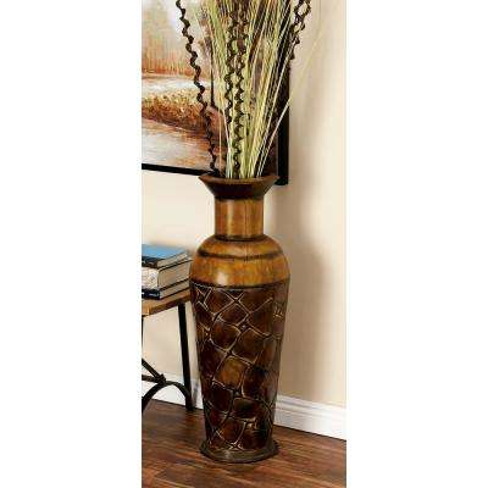 Iron Metal Decorative Vase in Bronze Patina (Set of 3)