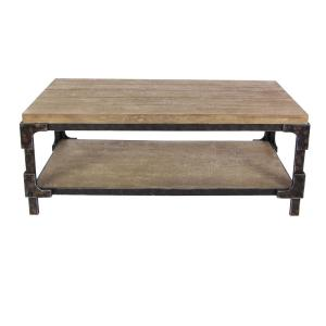 2-Shelf Wooden Coffee Table by