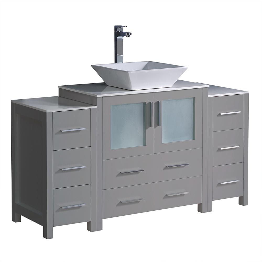 Fresca Torino 54 in. Bath Vanity in Gray with Glass Stone Vanity Top in White with White Vessel Sink, Side Cabinets