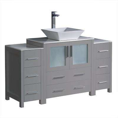Torino 54 in. Bath Vanity in Gray with Glass Stone Vanity Top in White with White Vessel Sink, Side Cabinets