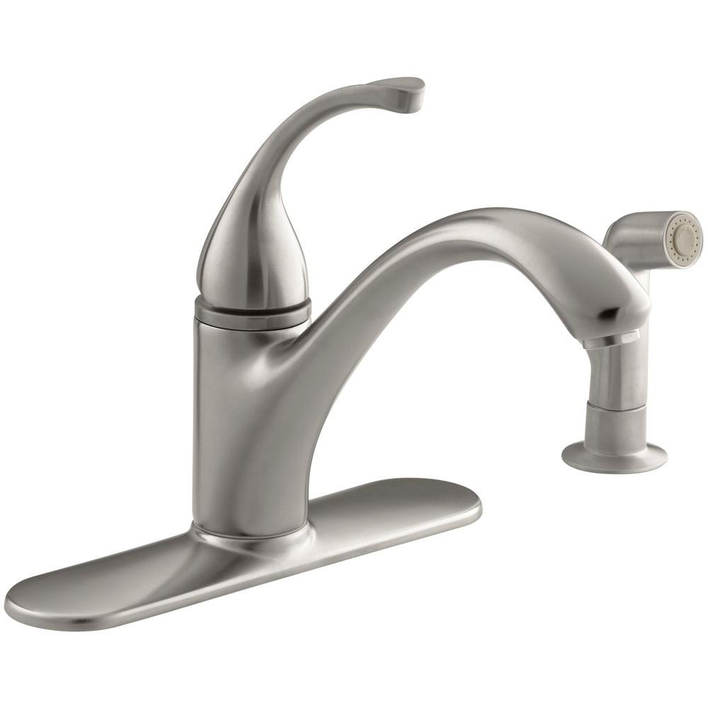 KOHLER Forte Single-Handle Standard Kitchen Faucet with Side Sprayer in  Vibrant Stainless