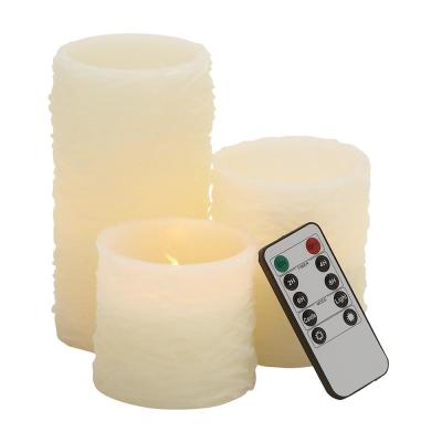 Large: 6 in; Medium: 4 in; Small: 3 in. Ivory Wax Flameless Pillar Candles (Set of 3)