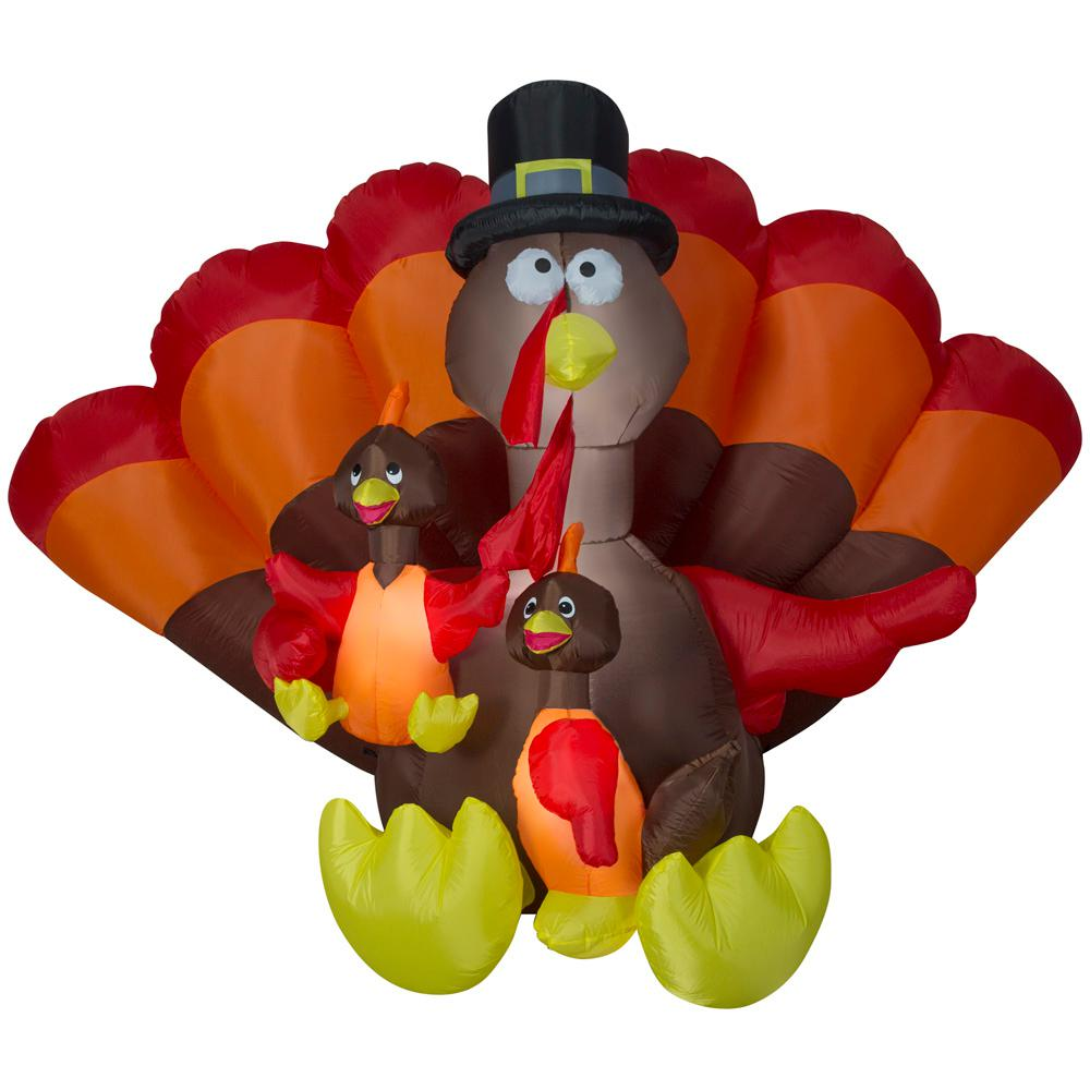 Gemmy 8.5 ft. Wide Inflatable Turkey Family Scene