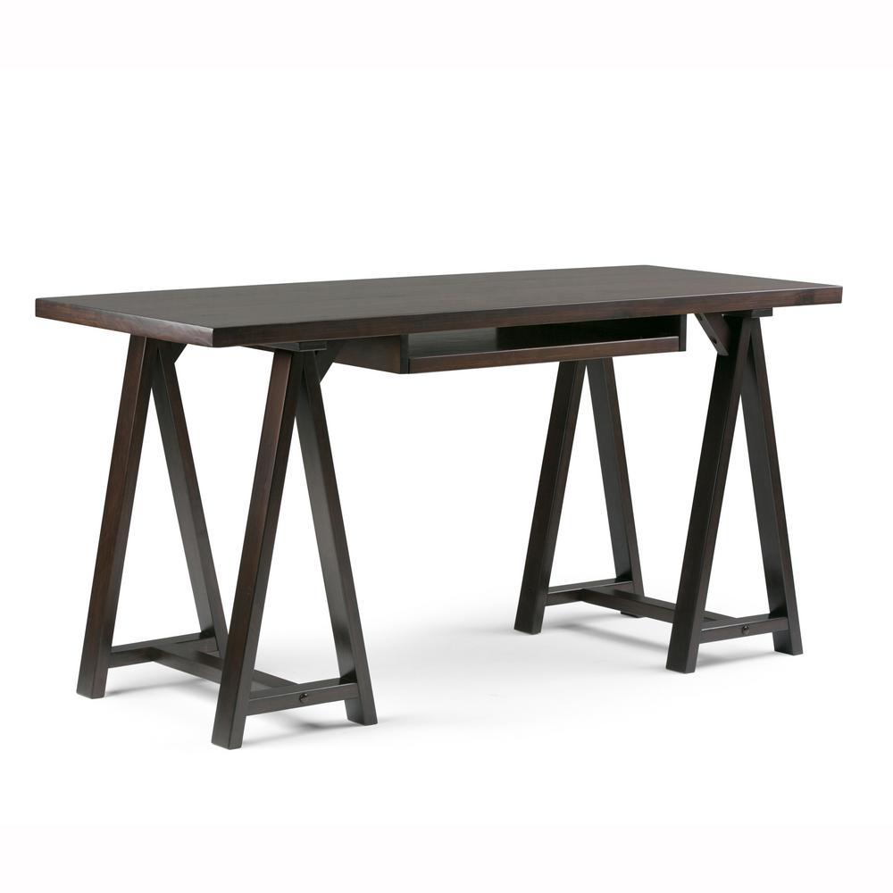 Sawhorse Solid Wood Modern Industrial 60 in. Wide Modern Industrial Writing Office Desk in Dark Chestnut Brown