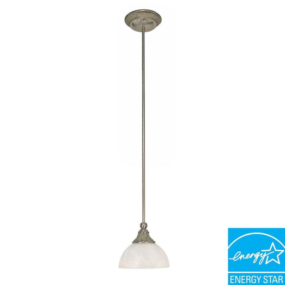 Glomar Rockport Milano 1-Light Hanging Brushed Nickel Mini Pendant-DISCONTINUED