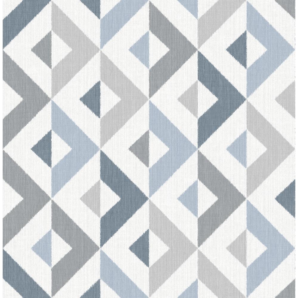 A-Street Seesaw Slate Geometric Faux Linen Wallpaper 2902-25541