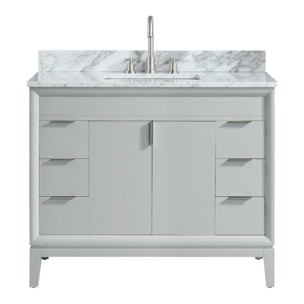 Emma 43 in. W x 22 in. D x 35 in. H Bath Vanity in Dove Gray with Marble Vanity Top in Carrara White with Basin