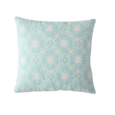 Morgan Home 18 in. Abigail Blue Damask Throw Pillow Cover