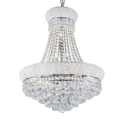 26 in. Adagio Empire Clear Crystal 12-Integrated LED 8-Watt Light Chrome Chandelier