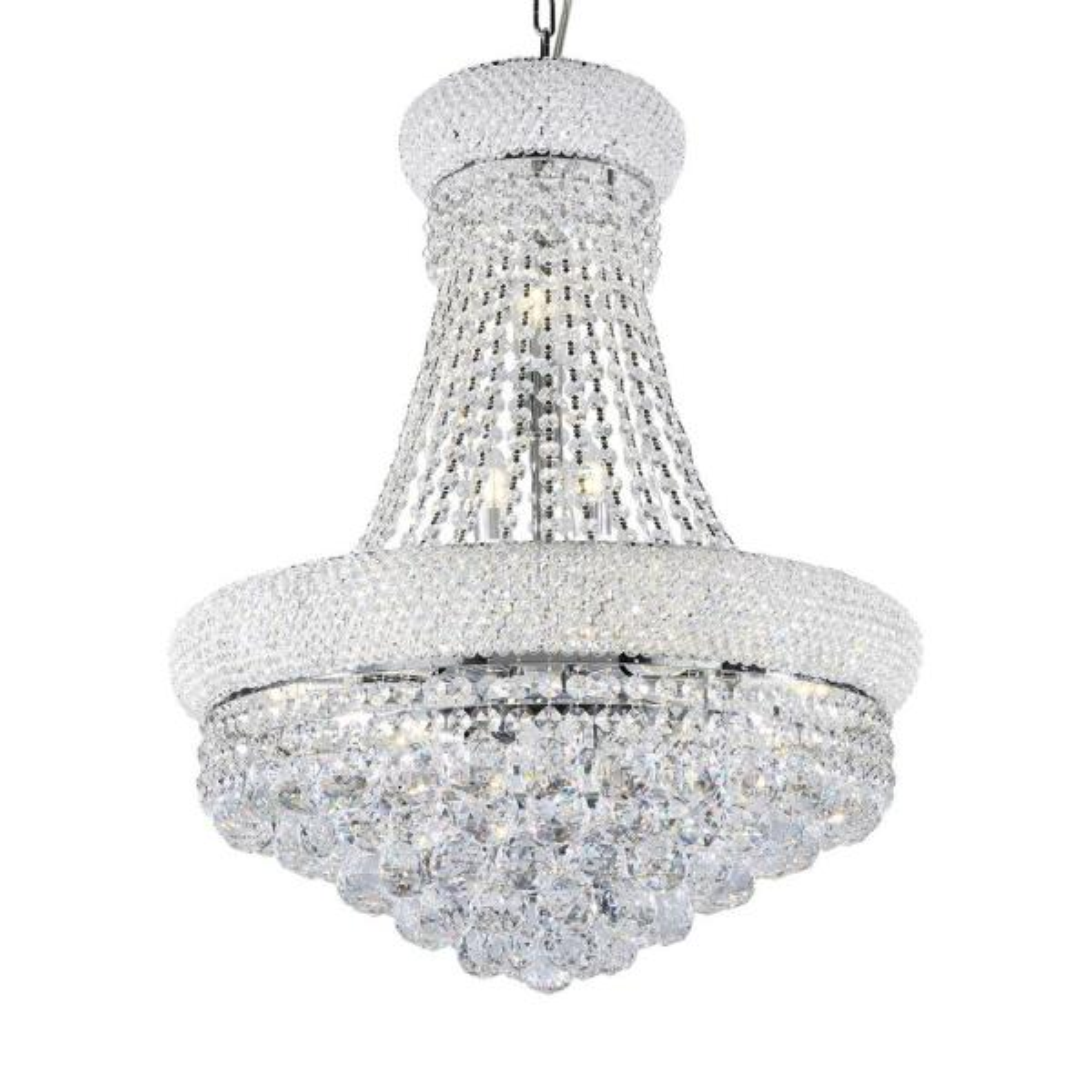 26 in. Adagio Empire Clear Crystal 12-Integrated LED 8-Watt Light Chrome Chandelier