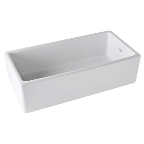 Lancaster Farmhouse/Apron-Front Fireclay 36 in. Single Bowl Kitchen Sink in White