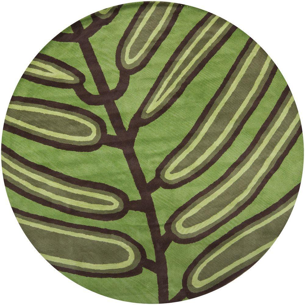Aschera Green/Dark Brown 7 ft. 9 in. Indoor Round Area Rug