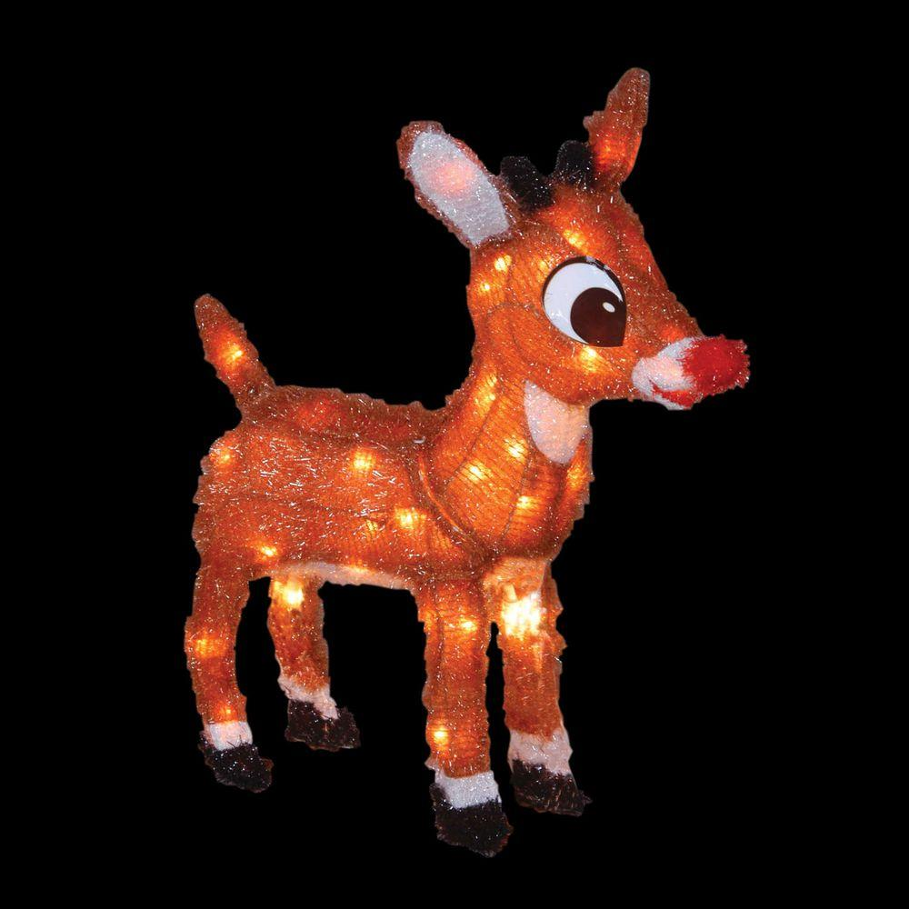Rudolph Christmas Decorations.Rudolph 18 In Led 3d Pre Lit Rudolph With Blinking Nose