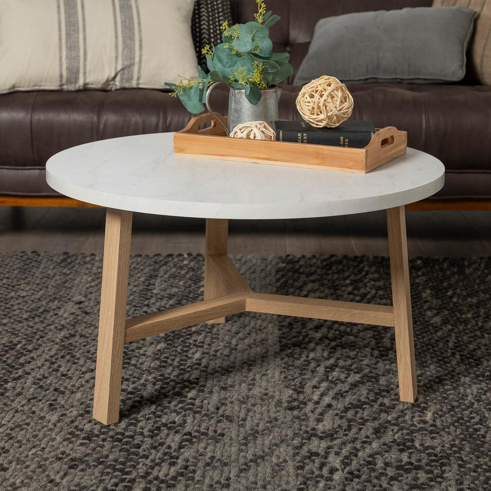 Oak And Stone Coffee Table: Walker Edison Furniture Company 30 In. White Marble And