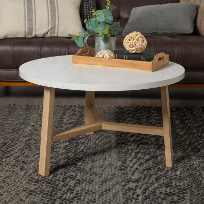 30 in. White Marble and Light Oak Round Coffee Table
