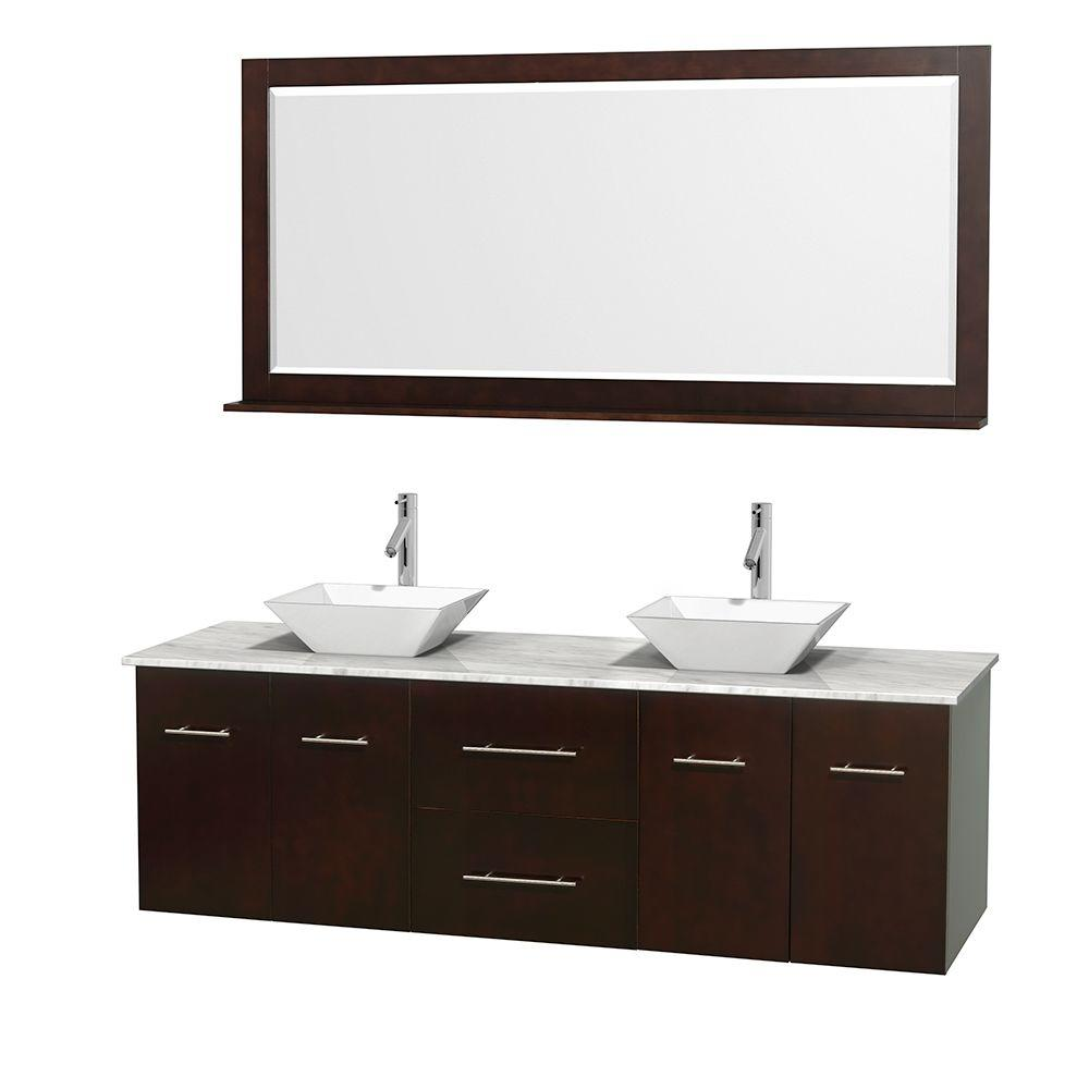 Wyndham Collection Centra 72 in. Double Vanity in Espresso with Marble Vanity Top in Carrara White, Porcelain Sinks and 70 in. Mirror