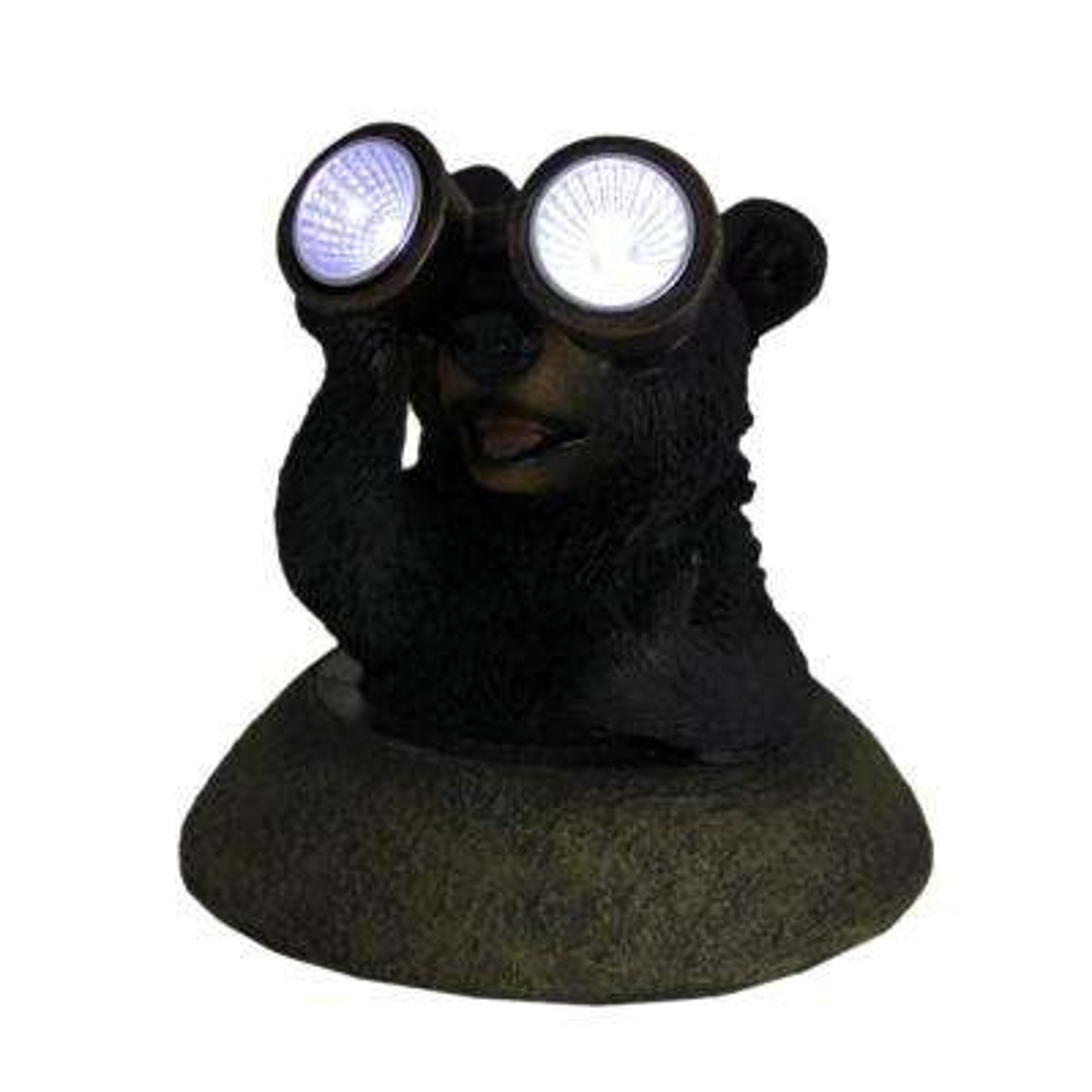 Adorable Solar Eyes Binoculars Black Bear LED Accent Light Garden Statue