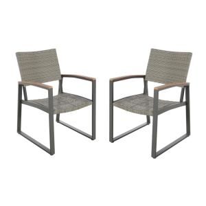 Glasgow Gray Armed Wicker and Aluminum Outdoor Dining Chair (2-Pack)