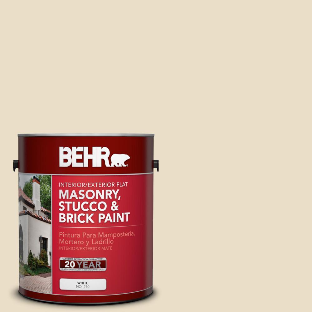 BEHR 1 gal. #710C-2 Raffia Cream Flat Interior/Exterior Masonry, Stucco and Brick Paint, Beige/Ivory